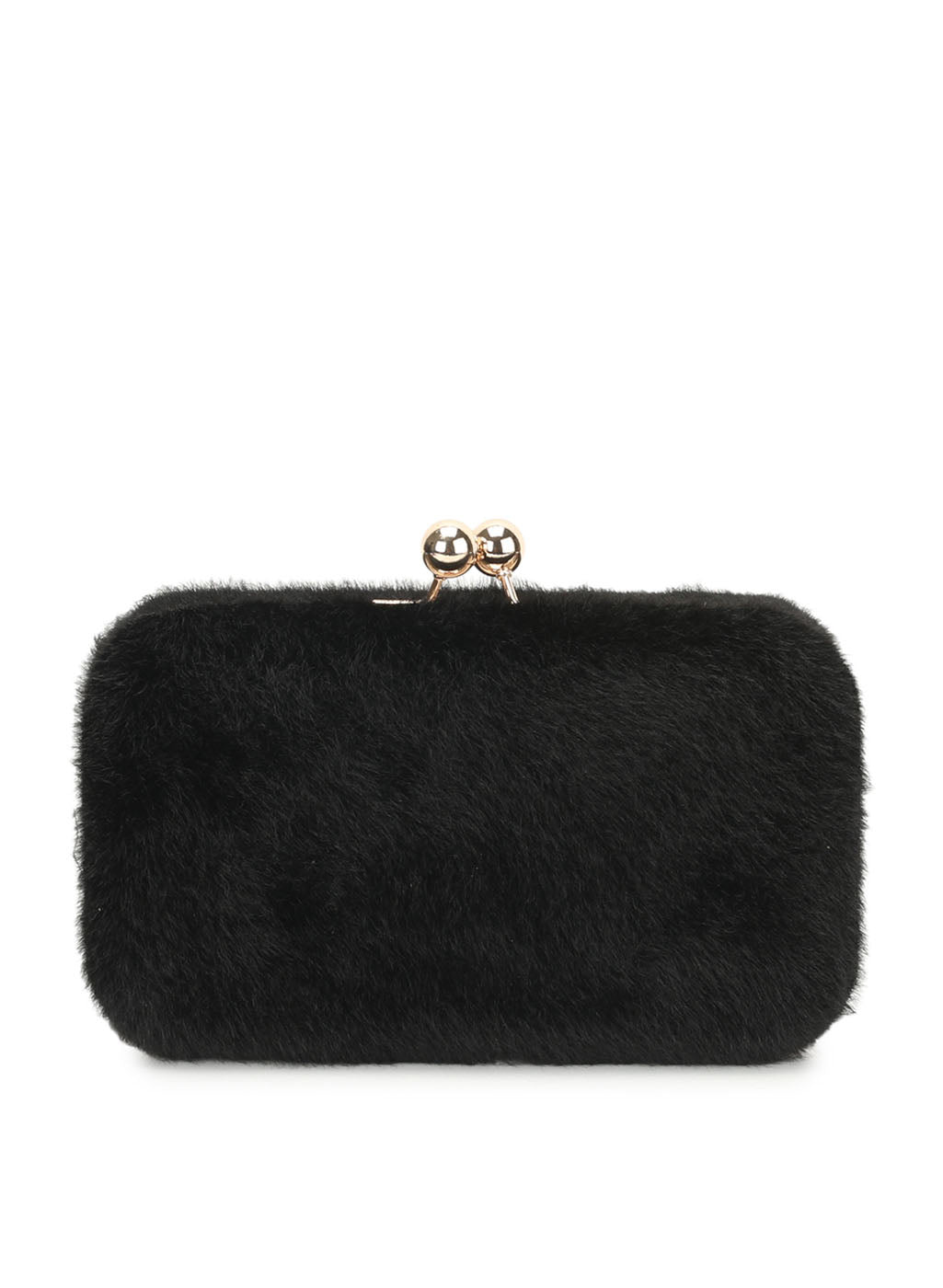 Nadia Fur Black Clutch