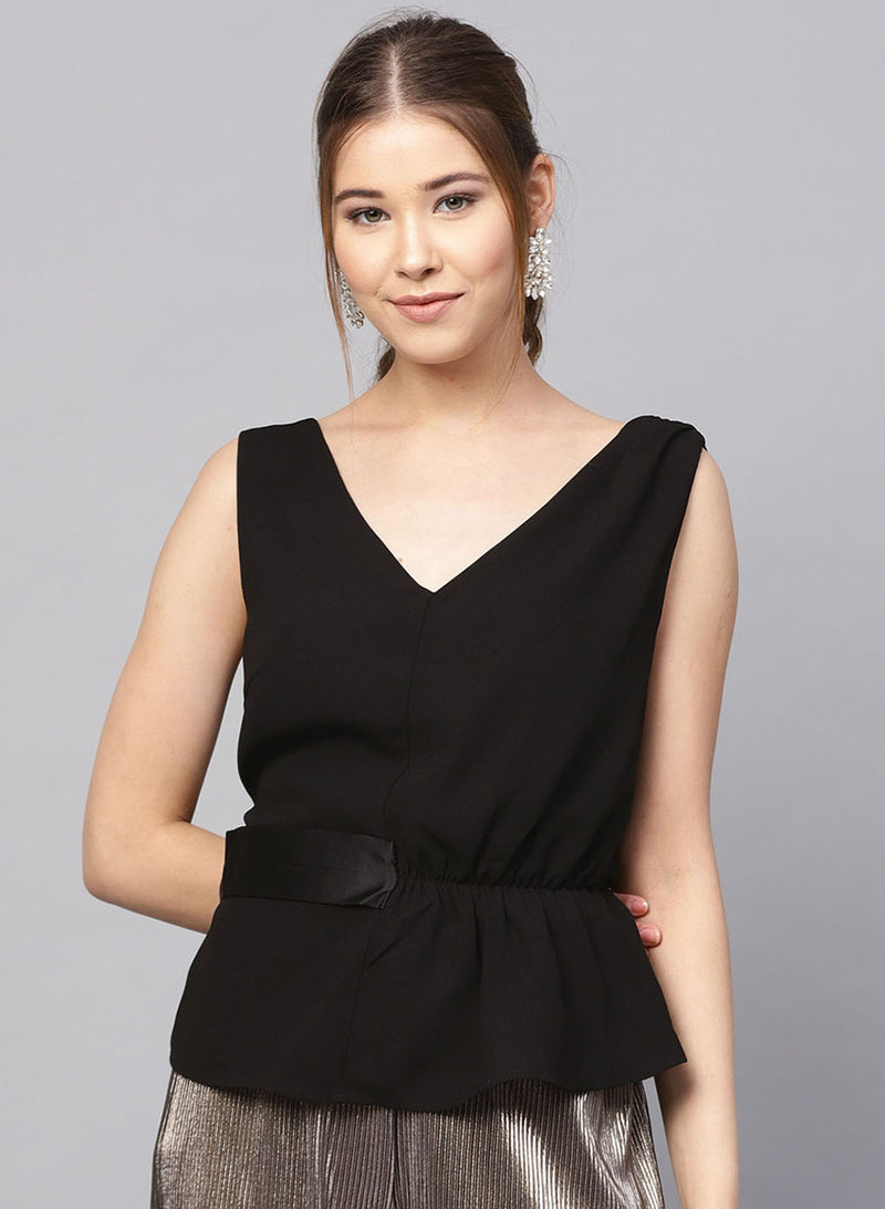 Pleated Peplum Top With Side Belt Detailing(Additional 20% on 2)