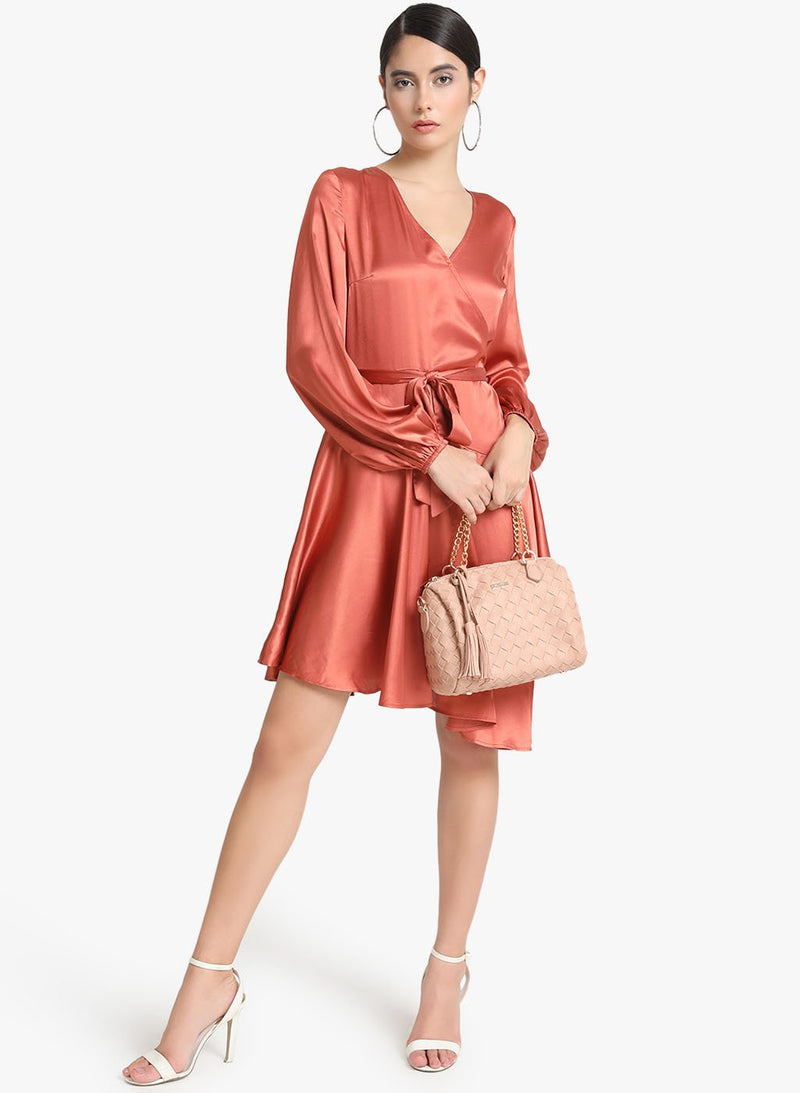 Satin Balloon Sleeves Dress (Additional 20% OFF)