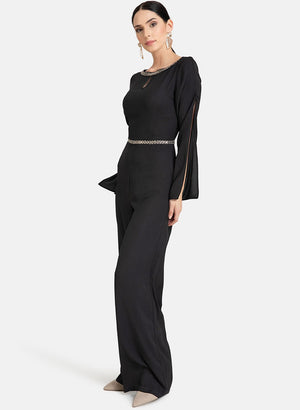 Jumpsuit With Embellished Neck & Waist