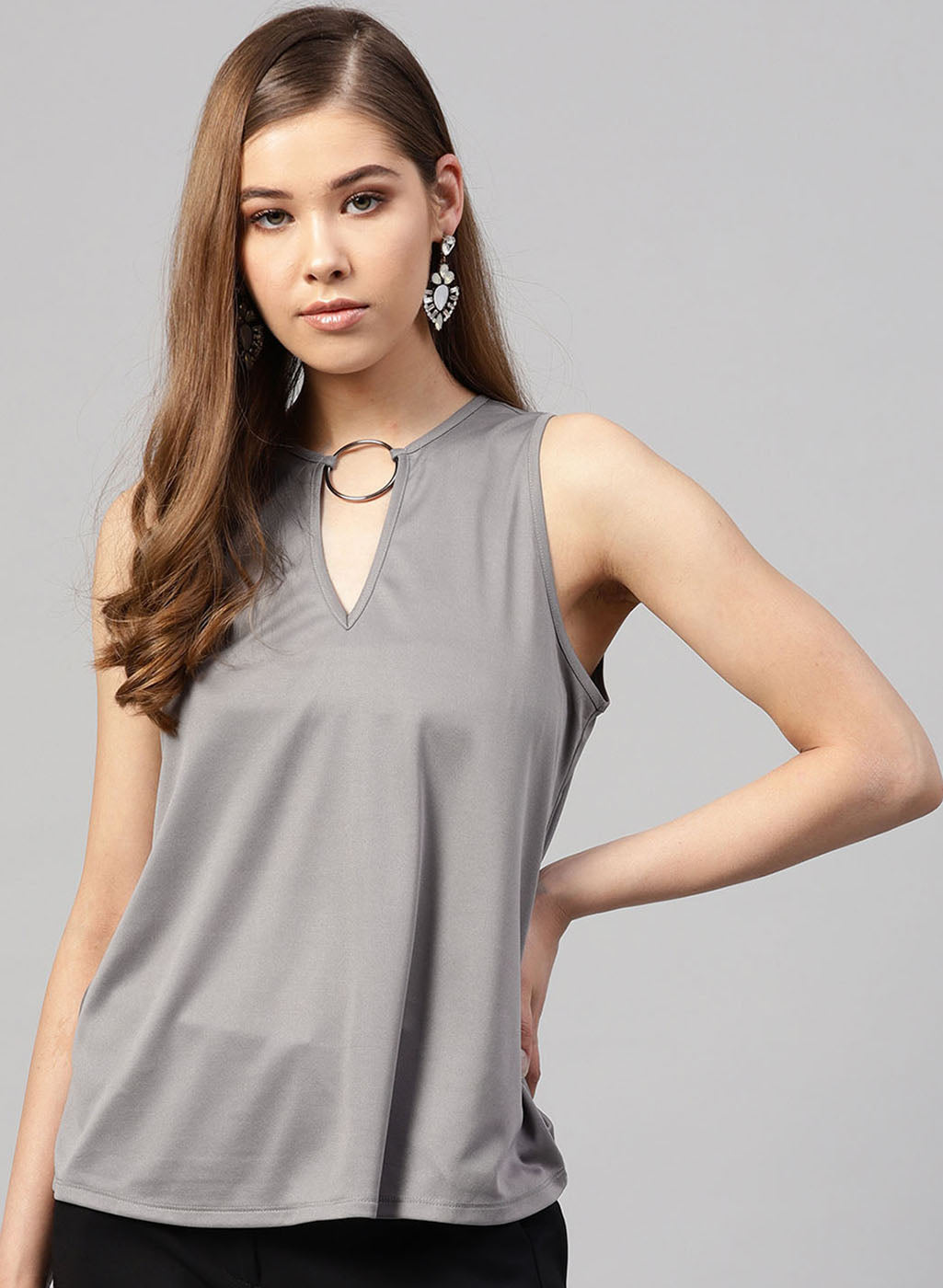 Ring Detailed Neck Top