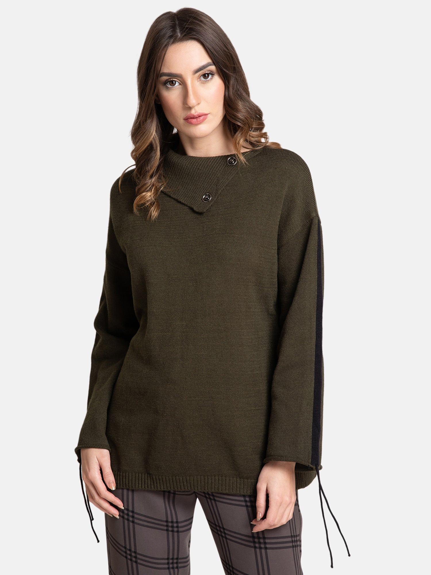 FOLD OVER NECK PULLOVER