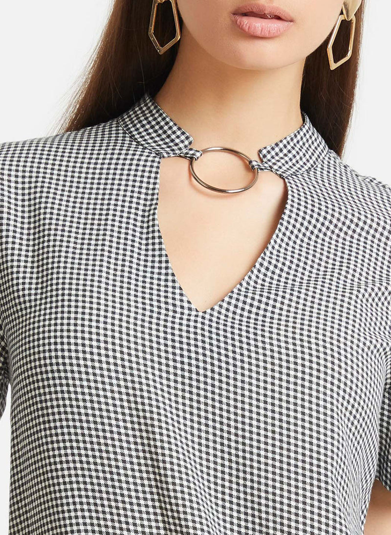 Check Print Top With Metal Ring (Additional 20% OFF)