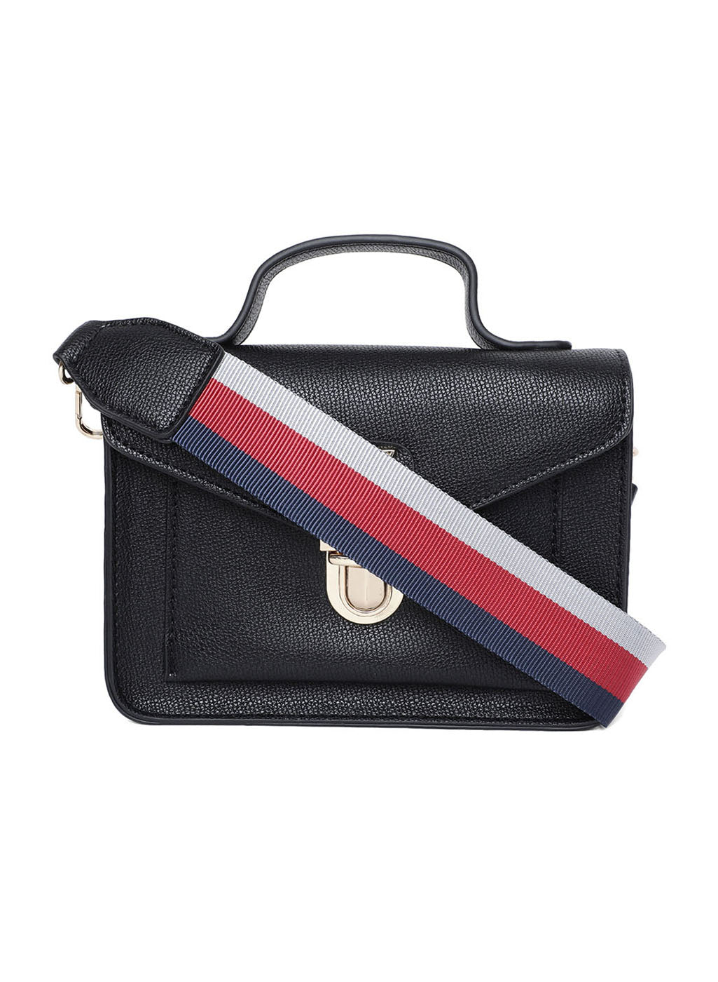 Sling Bag With Fabric Multicolored Strap