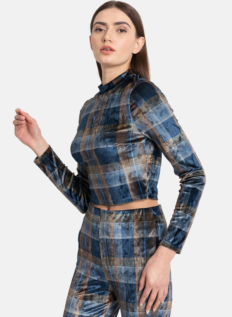 Blue Multi Checks Print Vellour High Neck Top (Additional 20% OFF)