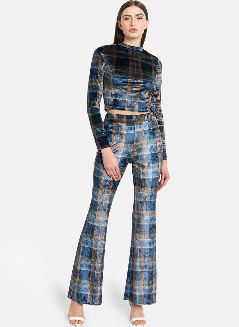 Blue Multi Checks Print Vellour Elasticated Flared (Additional 20% OFF)