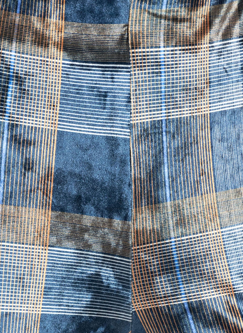 Blue Multi Checks Print Vellour Elasticated Flared