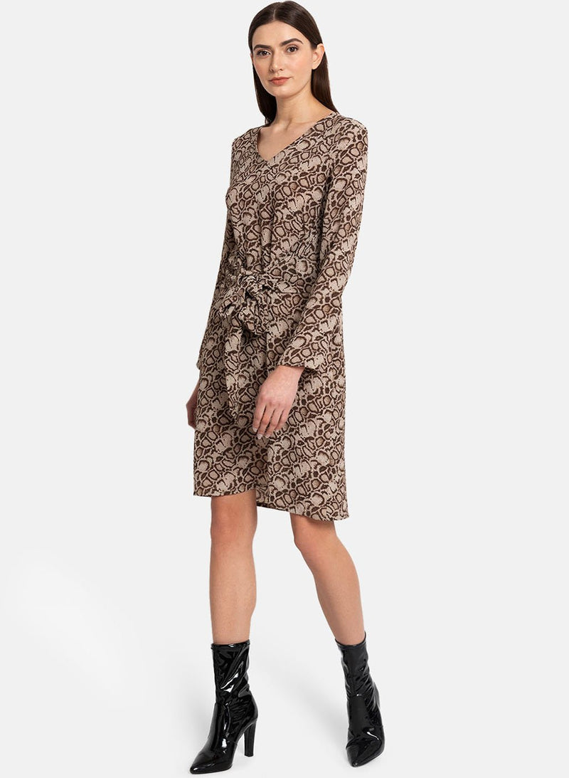 Front Tie Up Printed Dress
