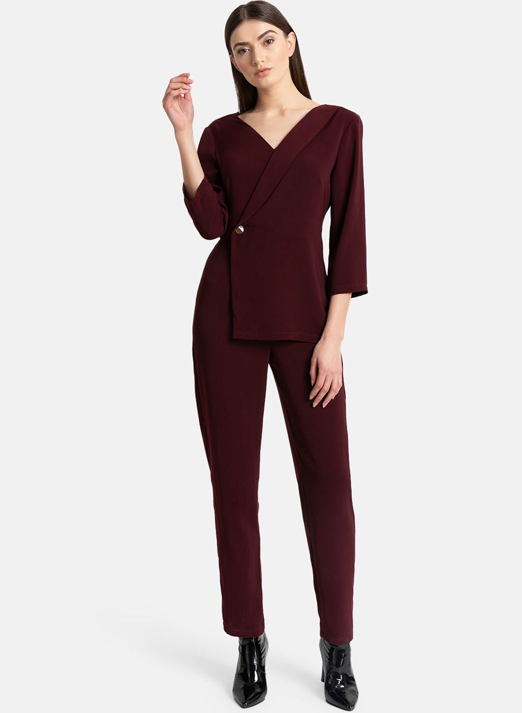 Asymmetric Coat Detail Jumpsuit (Additional 20% OFF)