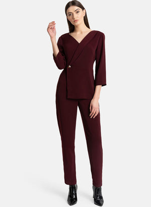 Asymmetric Coat Detail Jumpsuit