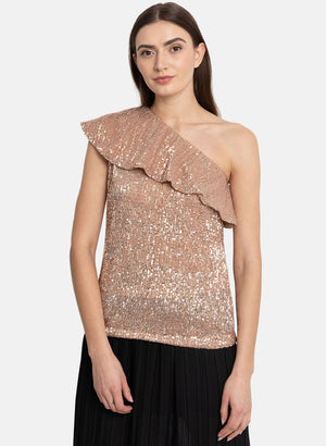 One Shoulder Overlay Top (Additional 23% OFF)