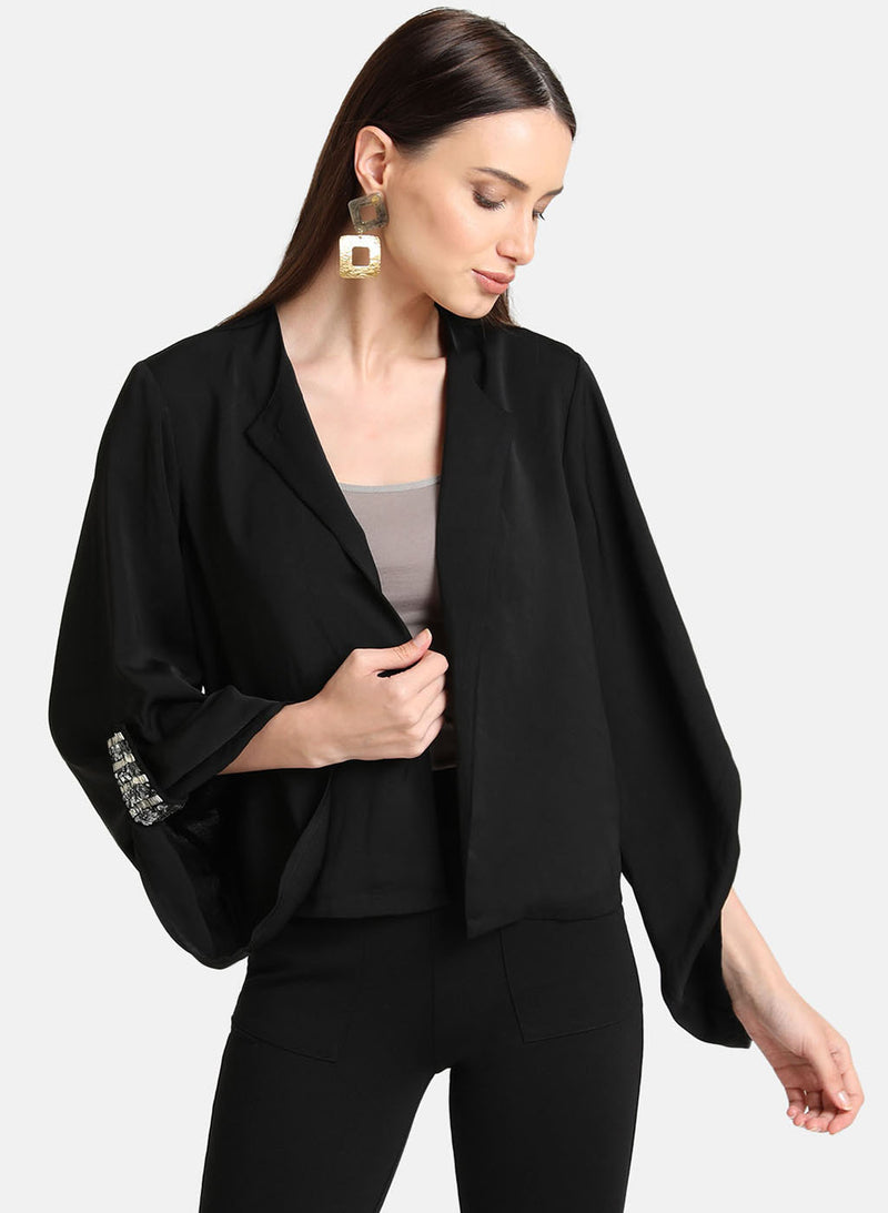 Embellished Tab Cape With Exaggerated Sleeve