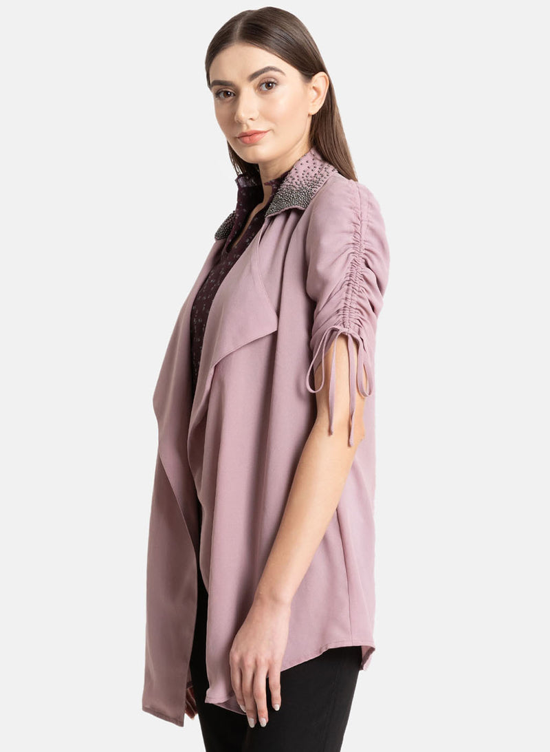 Ruched Sleeves Cape With Embellishment