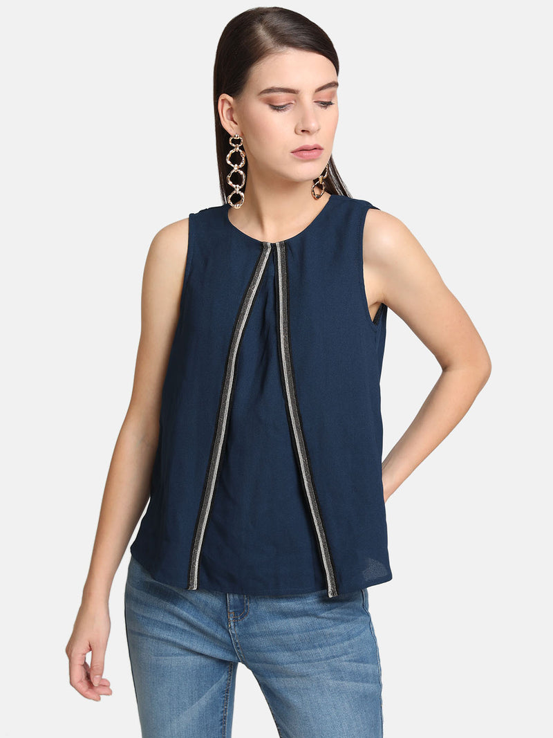 Box Pleat Detail Top With Embellishment
