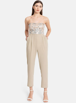 Sequin Bustier Jumpsuit With Smocking At The Back