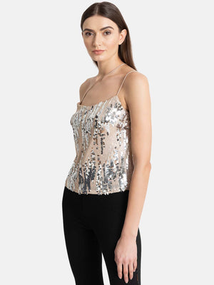 Asymetric Noodle Strap Sequin Top