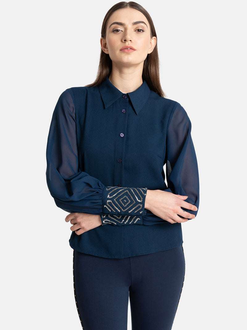 Classic Collar Shirt With Embellished Cuff