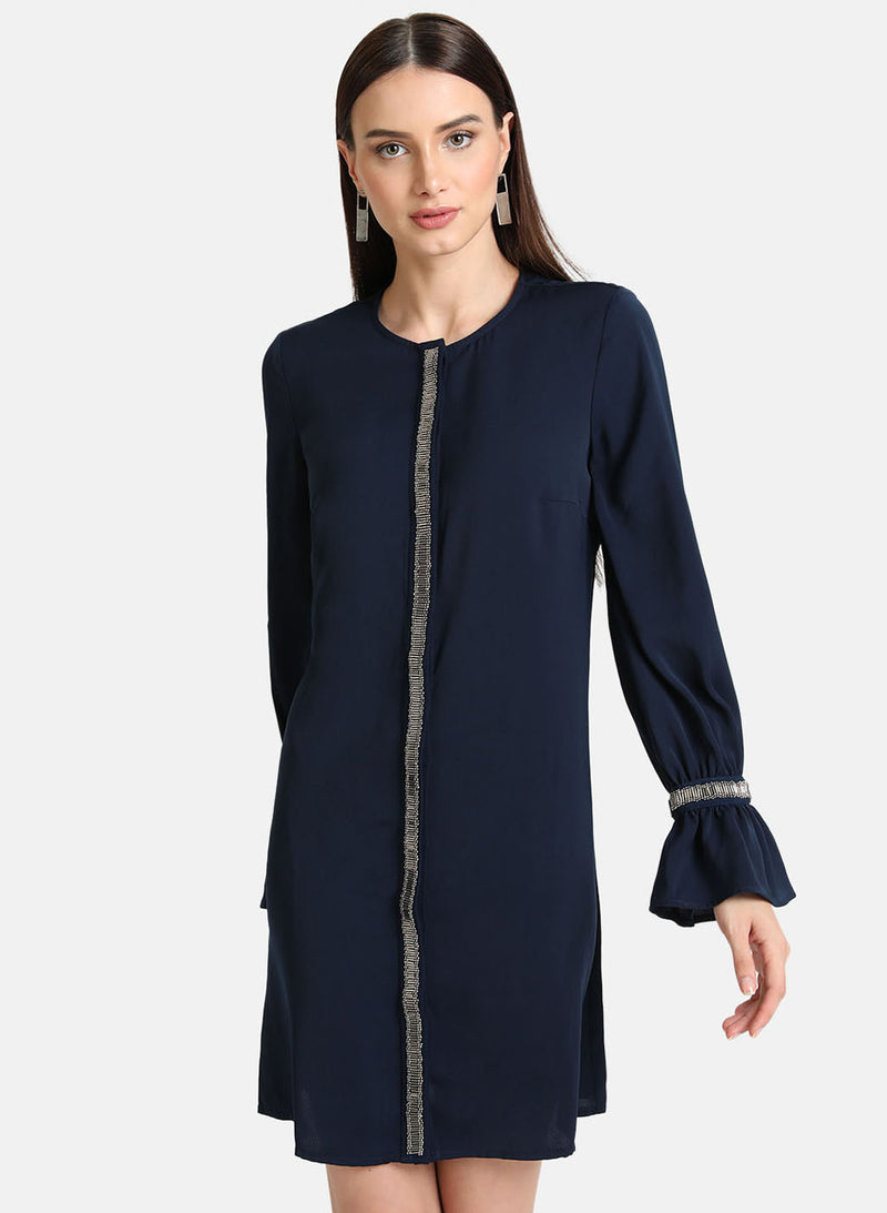 Embellished Placket Shirt Dress