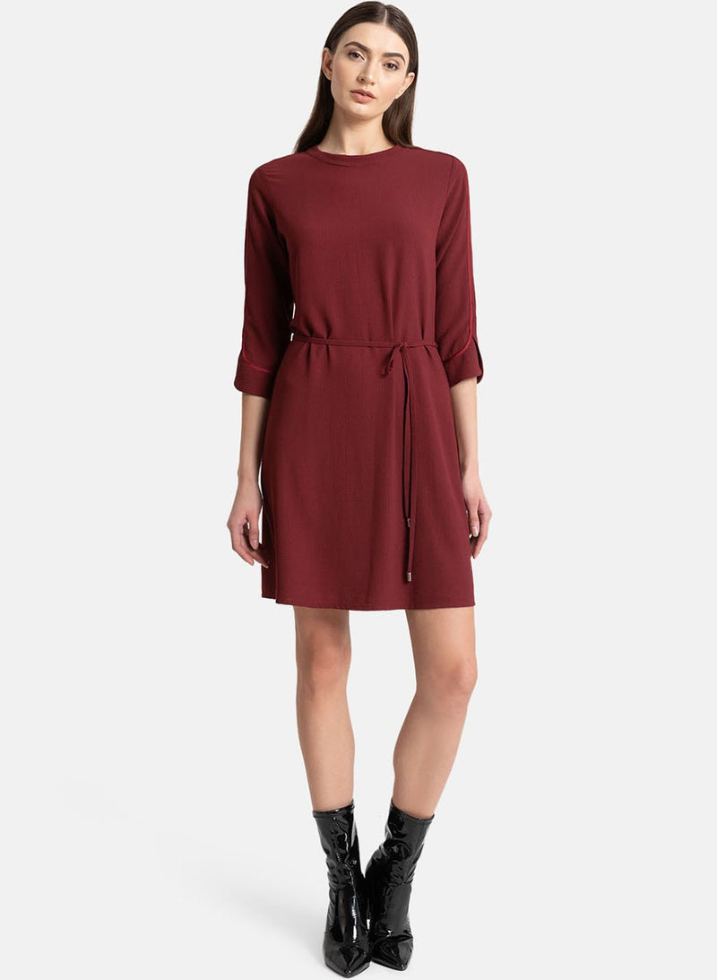 Solid Dress With Drawstring