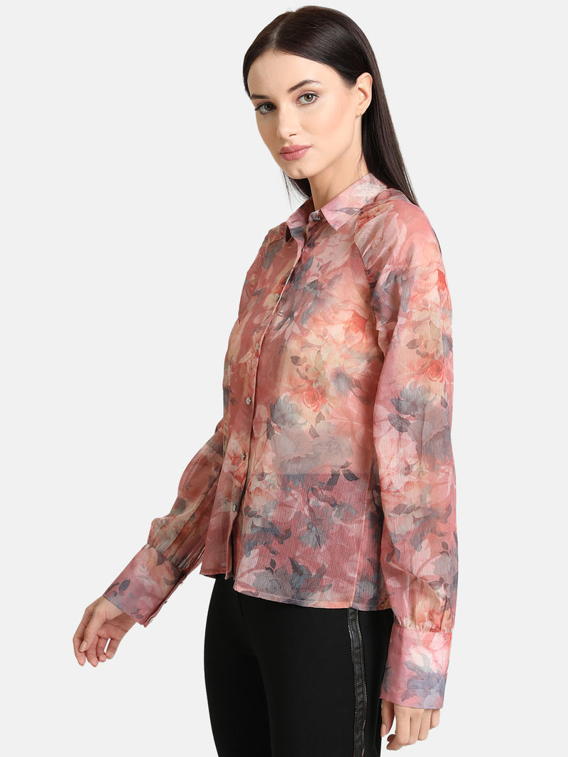Floral Printed Shirt With Raglan Sleeves