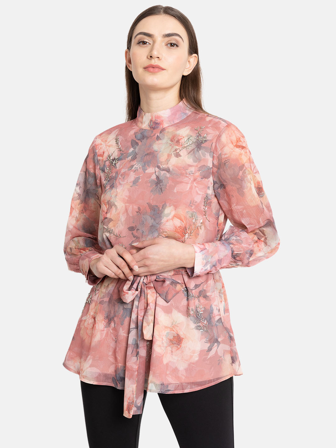 Floral Printed Tunic With Embellishment