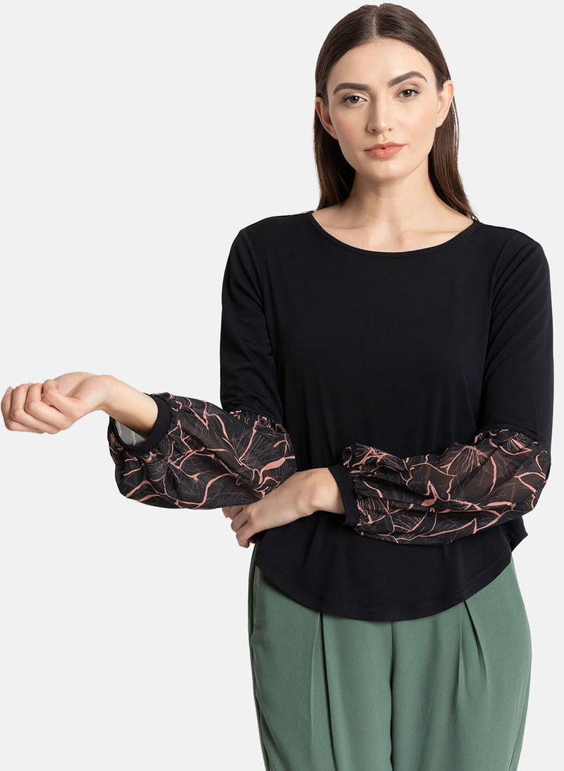Print Balloon Sleeve Top (Additional 20% OFF)