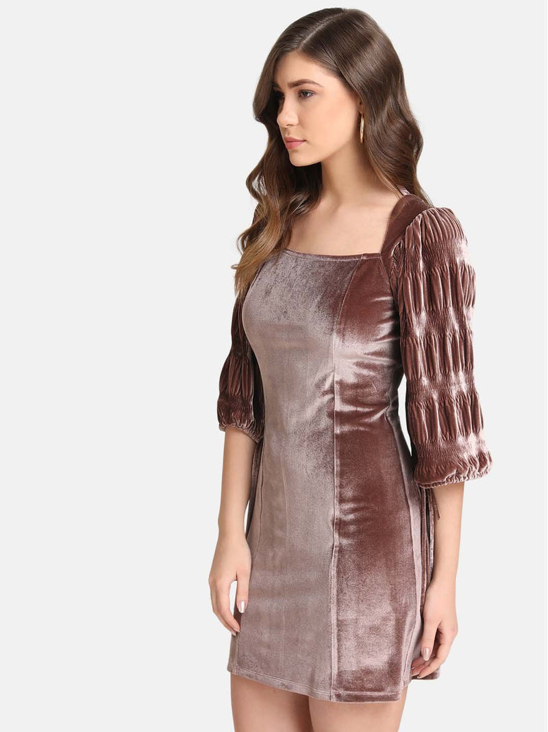 Velvet Dress With Volume Sleeve