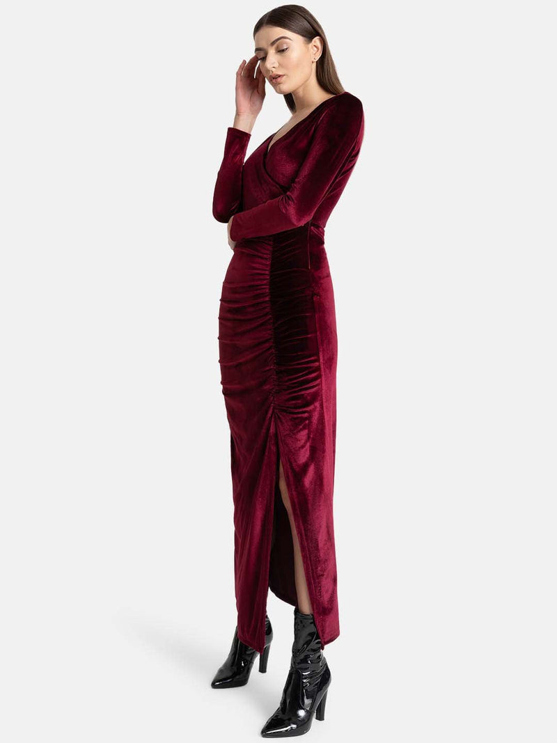 Velvet Ruching Maxi With Thigh High Slit