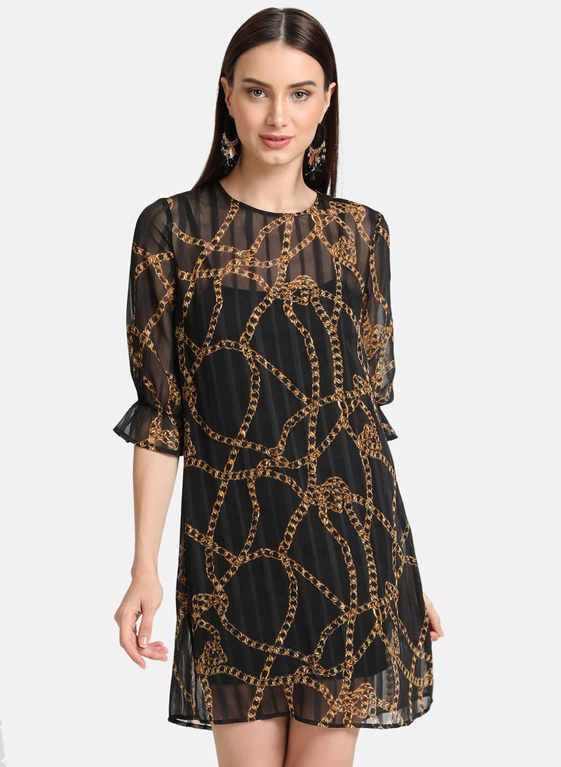 Rope Print Shadow Striped Dress (Additional 20% OFF)
