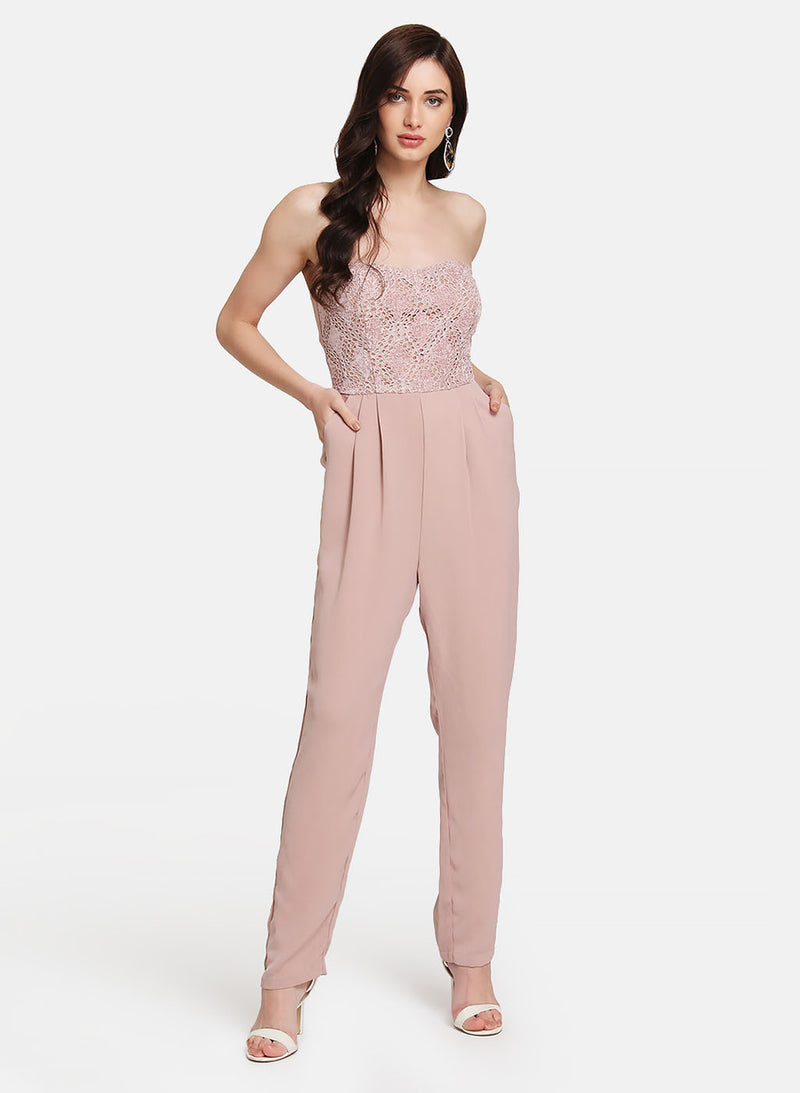 Velvet Lace Tube Jumpsuit