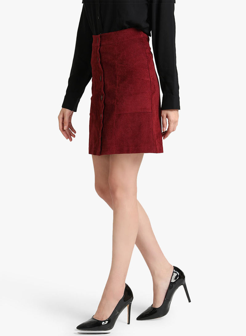 A-Line Skirt With Button Detailing (Additional 20% OFF)