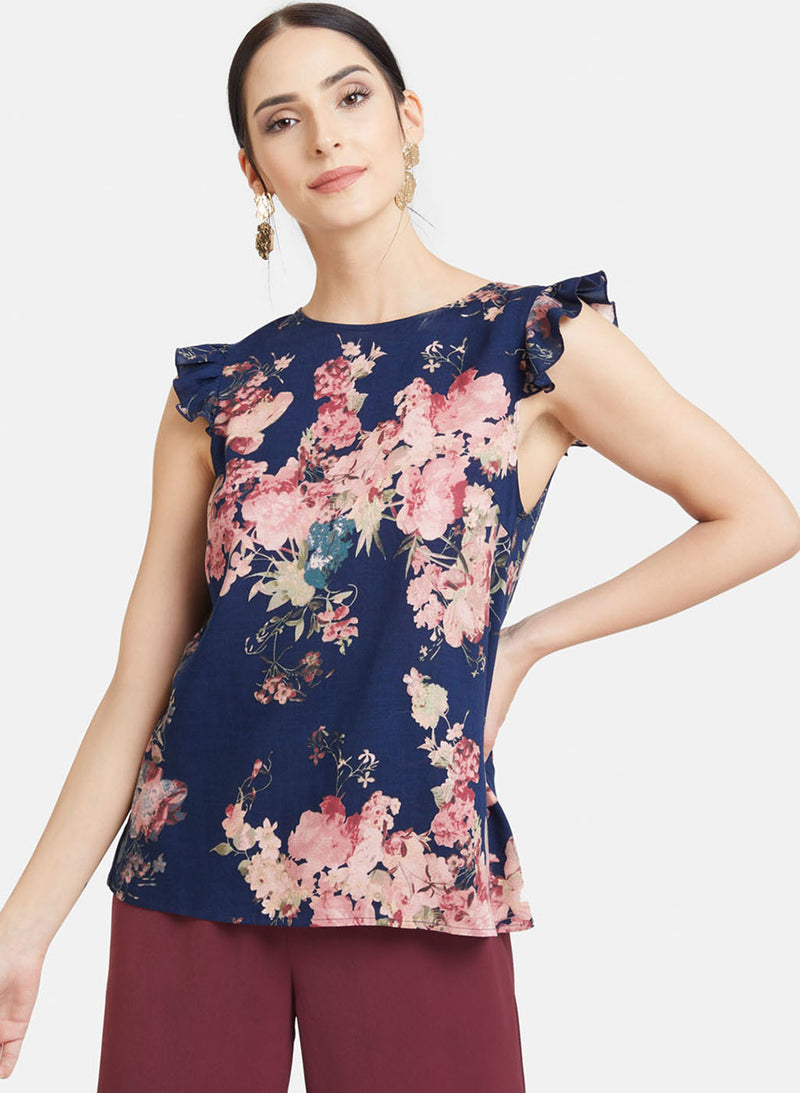 Floral Print Frilled Detailed Top (Additional 20% OFF)