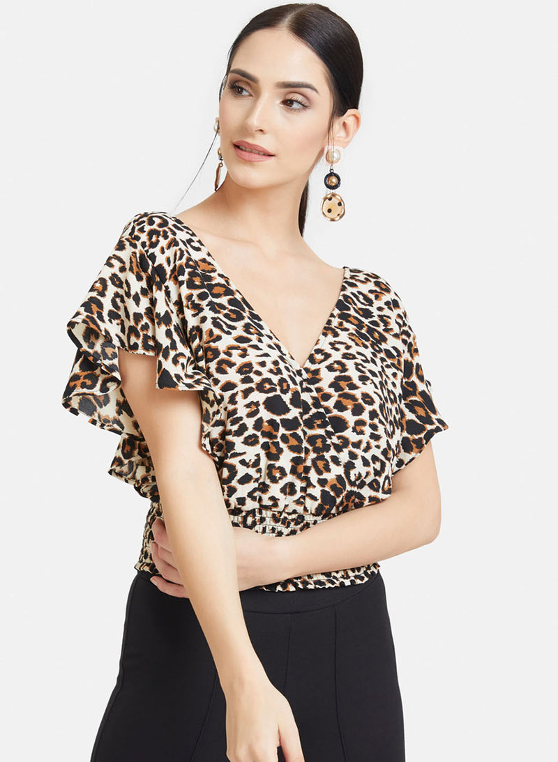 Animal Print Crop Top With Waist Tie-Up