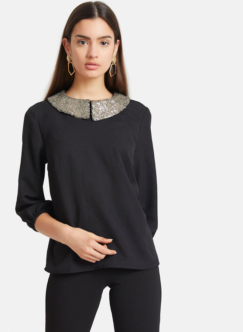 Sequinned Collar Solid Top