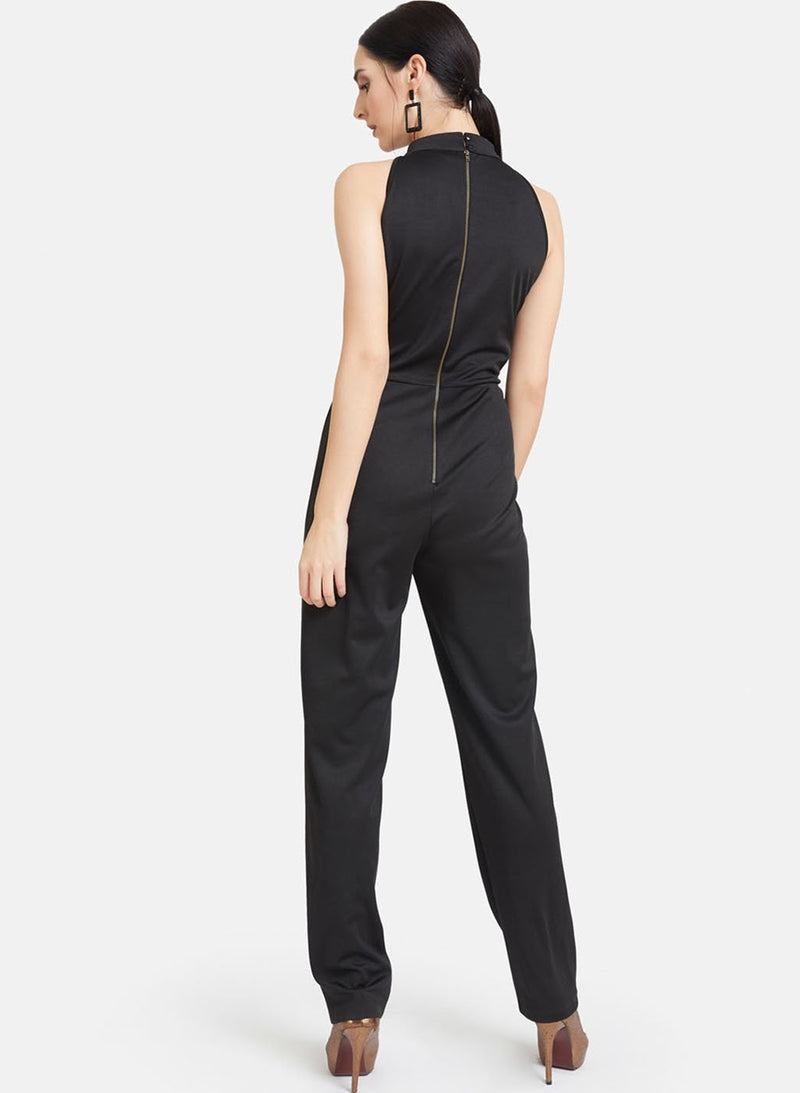 Solid Jumpsuit With Metal Chain Tape