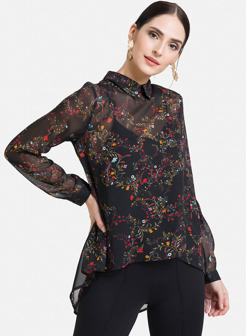 Floral Print Top With Gathered Back
