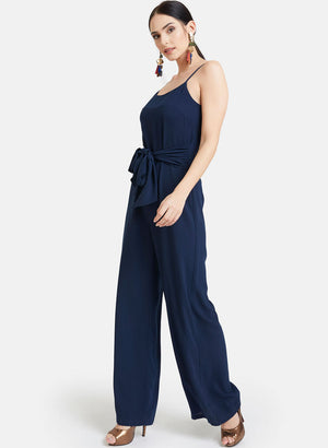 Strappy Jumpsuit With Waist Tie-Up