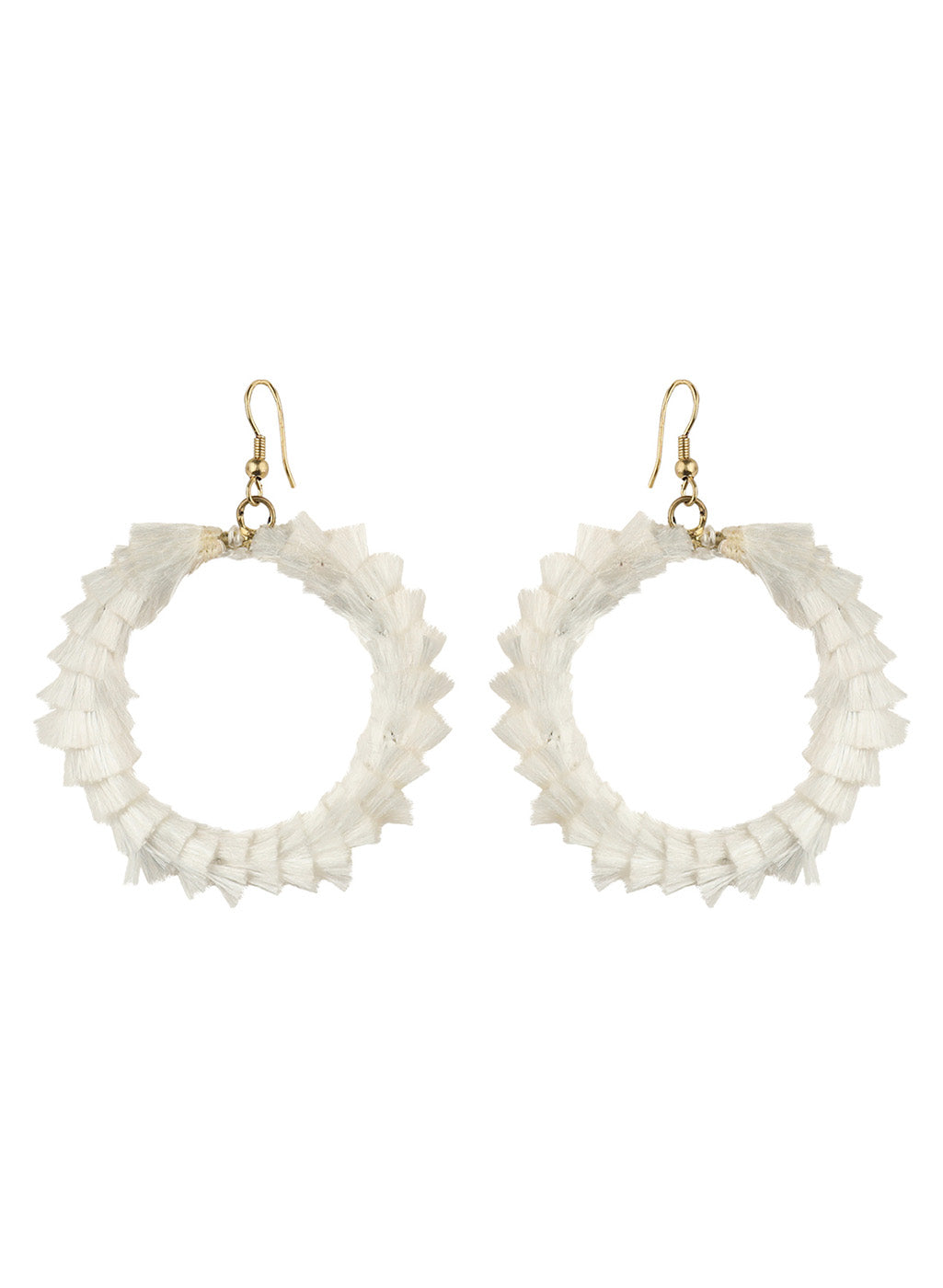 TASSELED OFF WHITE EARING  MAKE YOU LOOK CHIC AND CLASSY
