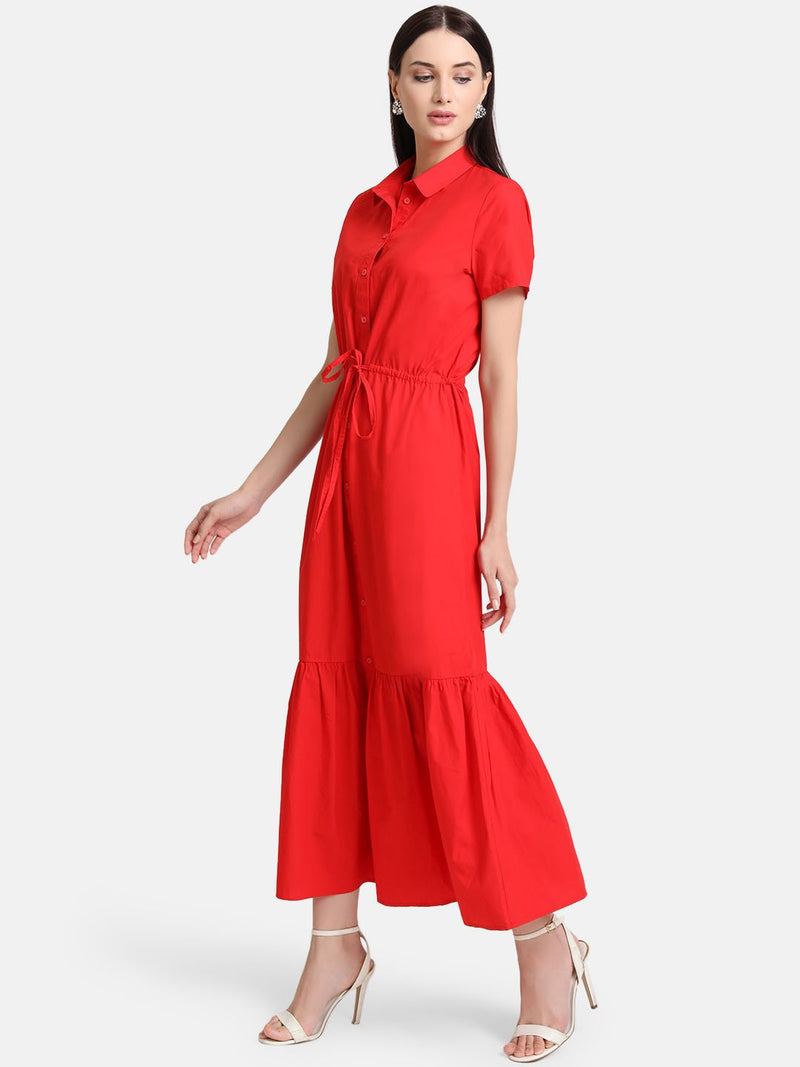 Tiered Shirt Dress With Drawstring (Additional 20% OFF)