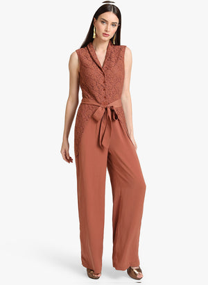 Lace Jumpsuit With Tie Up