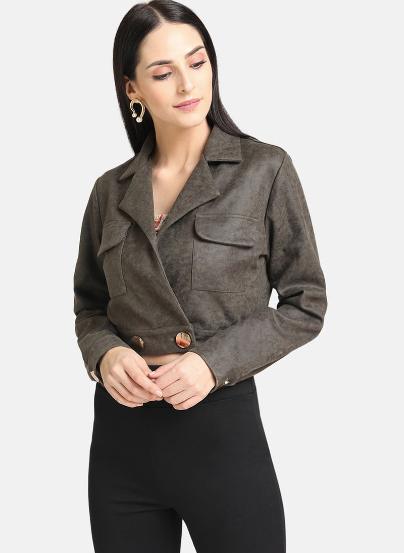 Olive Crop Jacket With Golden Trims