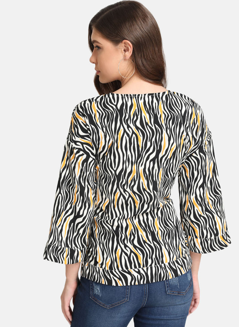 Zebra Print Top With Tie Knot (Additional 20% OFF)