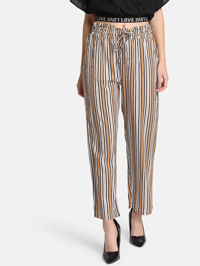 Striped Culottes With Smocking Detail At Waist (Additional 20% OFF)