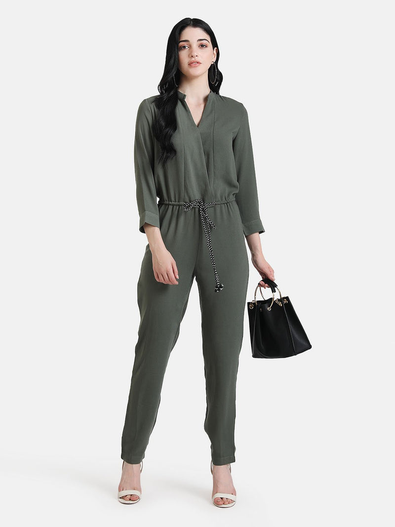 Front Overlap Jumpsuit With Waist Tie-Up