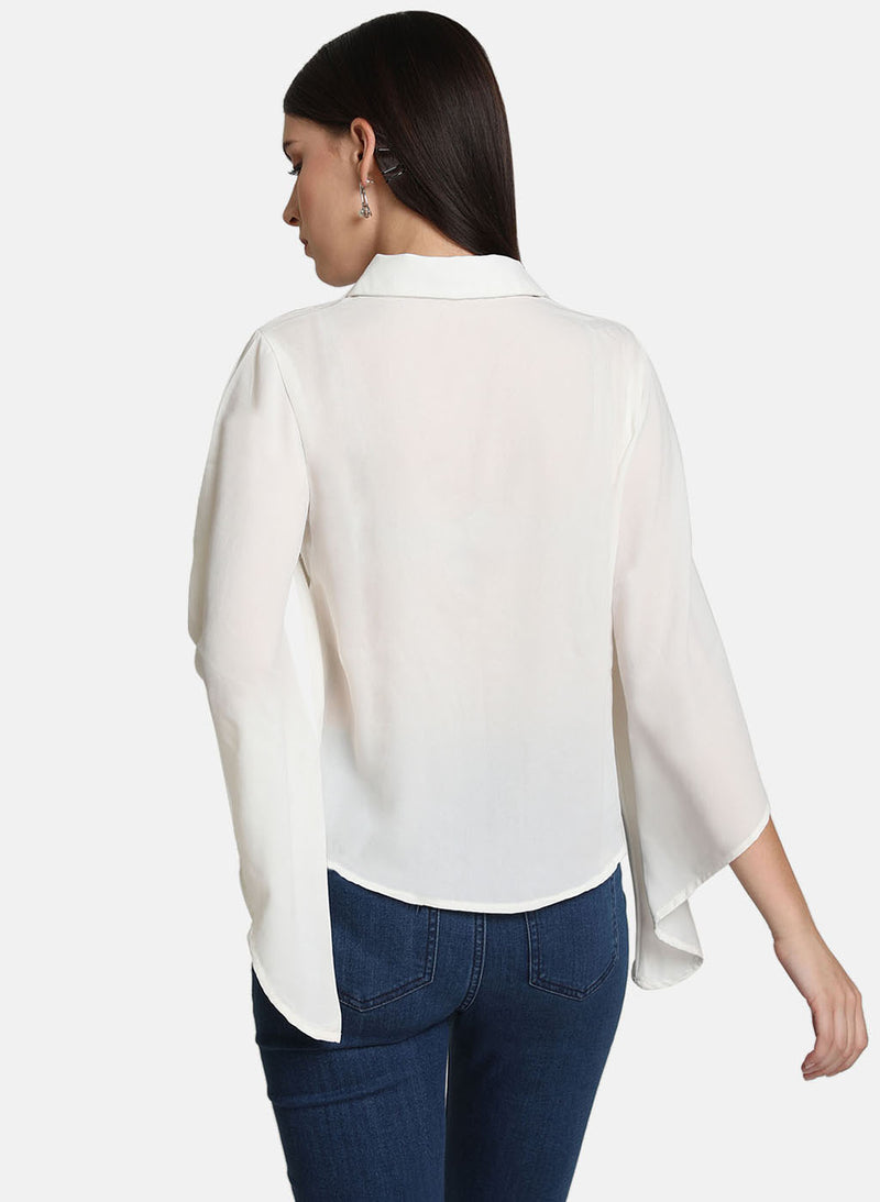 Button Detail Flared Sleeve Shirt (Additional 20% OFF)