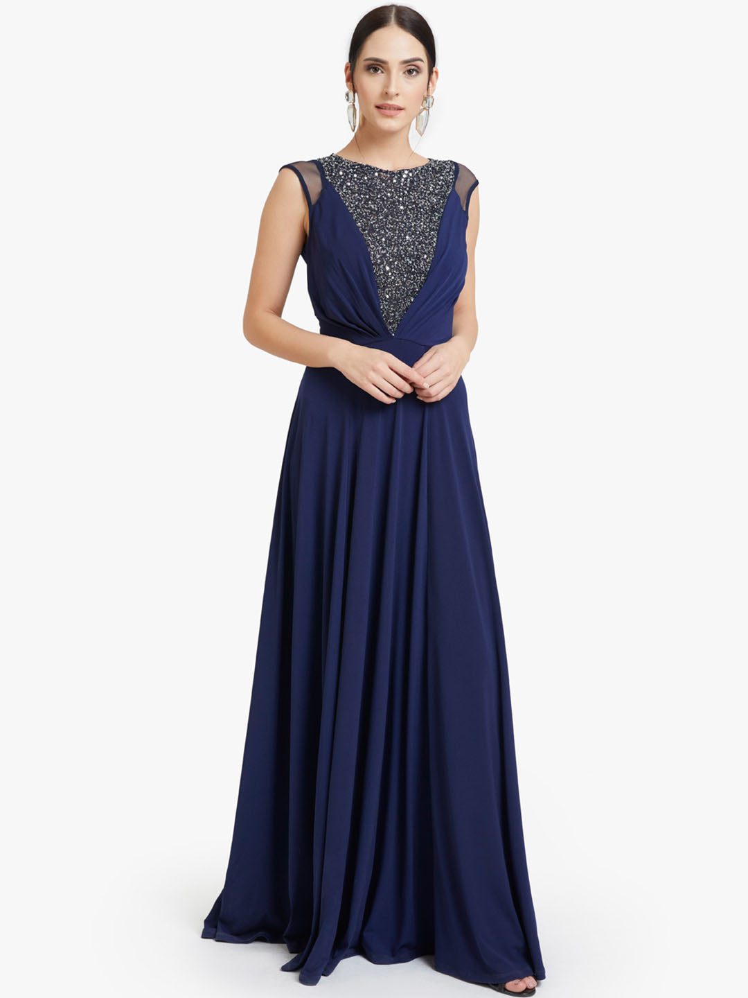 Embellished Flared Maxi Dress