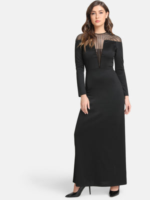 Sheer Yoke Embellished Maxi Dress (Additional 20% OFF)