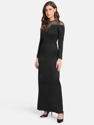 Sheer Yoke Embellished Maxi Dress