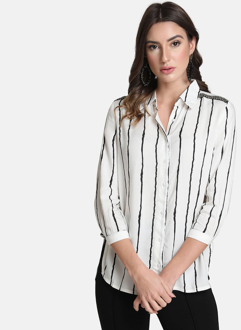 Striped Embellished Shirt
