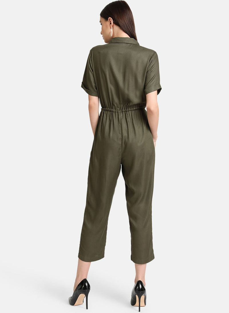 Collared Jumpsuit With Metal Zipper
